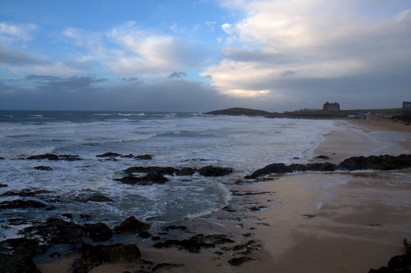 first view of the beach at Fistral